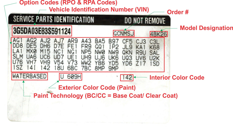 General Motors Service Parts Identification Label Explained