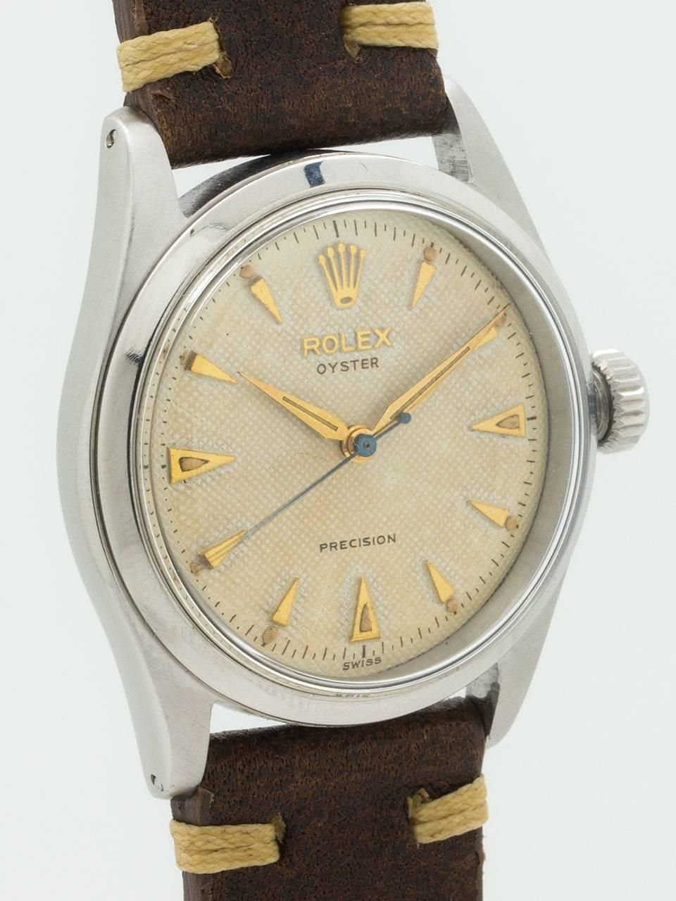 Rolex Yellow Gold Stainless Steel Oyster Precision Wristwatch Ref 6282 2