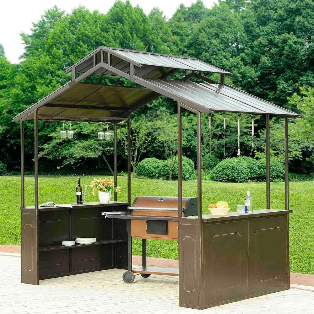 bbq com garden grill outsunny awning amazon canopy shelter steel outdoor frame yovmetl dp brown canopies