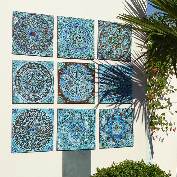 décor de jardin , art mural extérieur en céramique , Set de décor de mur  (marocaine, Suzani ou Mandala) 8 , sticker , tuiles , turquoise