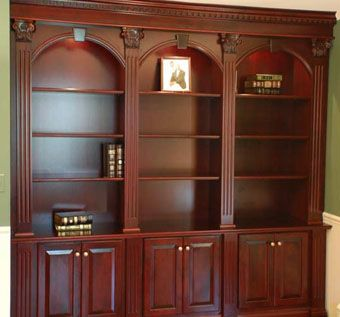 ornate cherry bookcases