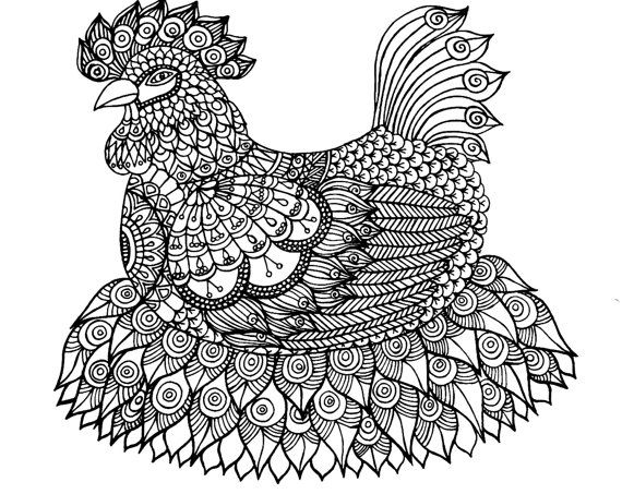 A Big Chicken Coloring page, with many details, complex drawing to ...