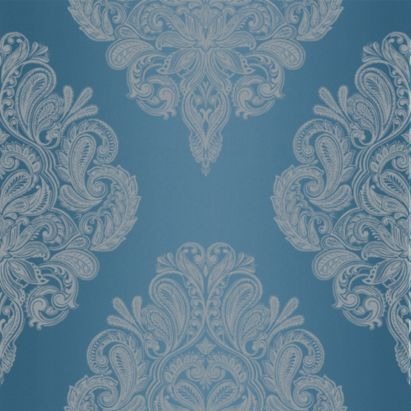 Cote Couture Wallpaper in Blue by Laurence Llewelyn-Bowen for Graham & Brown - bedroom