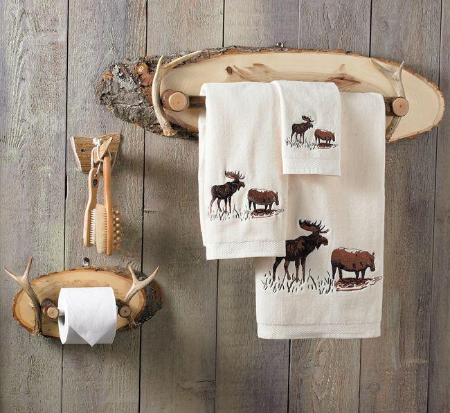 Antler Wood Bath Hardware Rustic Towels Antlers Decor Lodge