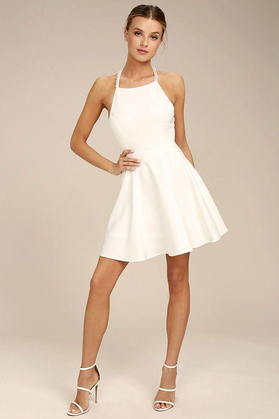 White Pearl Short Dress
