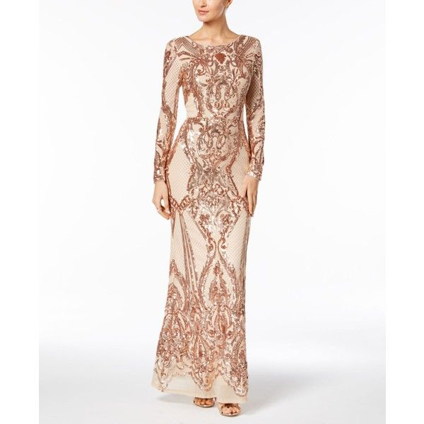 Betsy & Adam Sequined Gown ($329) ❤ liked on Polyvore featuring ...