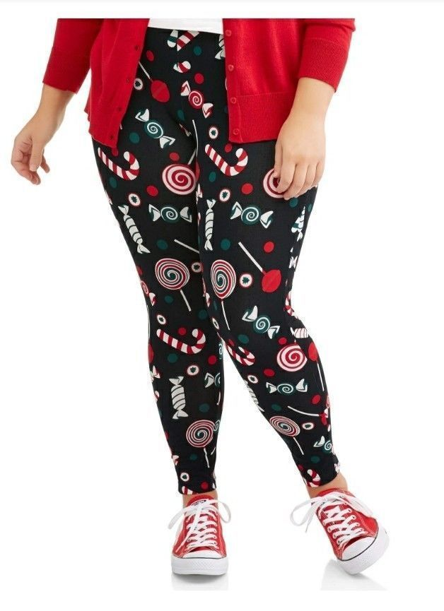 ebef043657b Faded Glory Plus Size Christmas Leggings 4X 26 28 Women s Holiday Candy  Cane new  FadedGlory  Footless  Winter