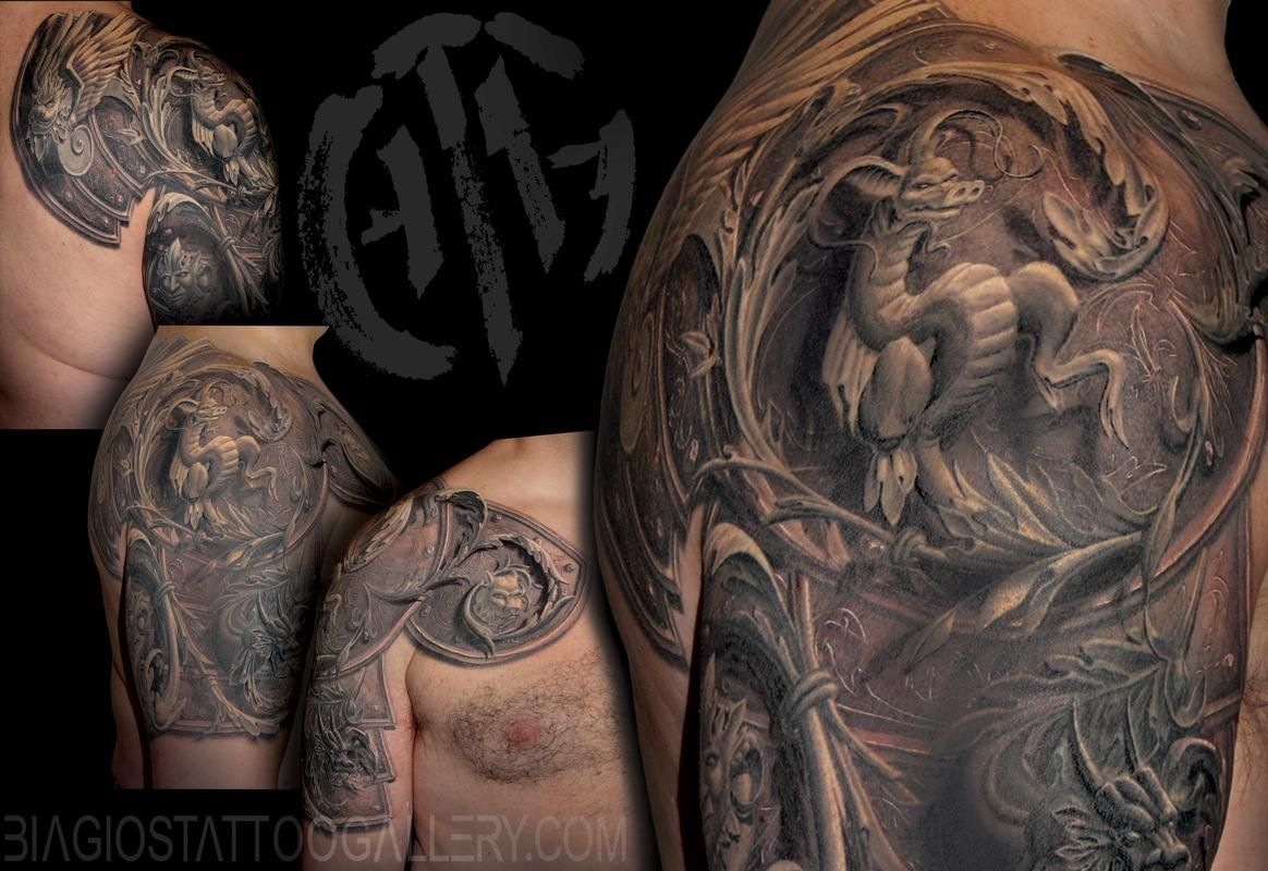Realistic Dragon Armor Tattoo On Shoulder Armor Sleeve Tattoo Shoulder Armor Tattoo Armor Tattoo Gladiator armor tattoo on chest and shoulder. realistic dragon armor tattoo on
