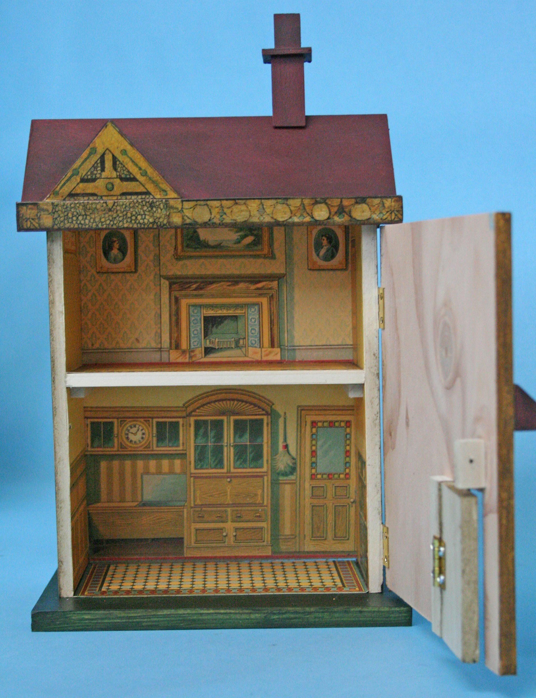 Bliss Dollhouse Kit No 5 showing the inside wallpapered. Also note the little front door is on hinges and opens just like the original.
