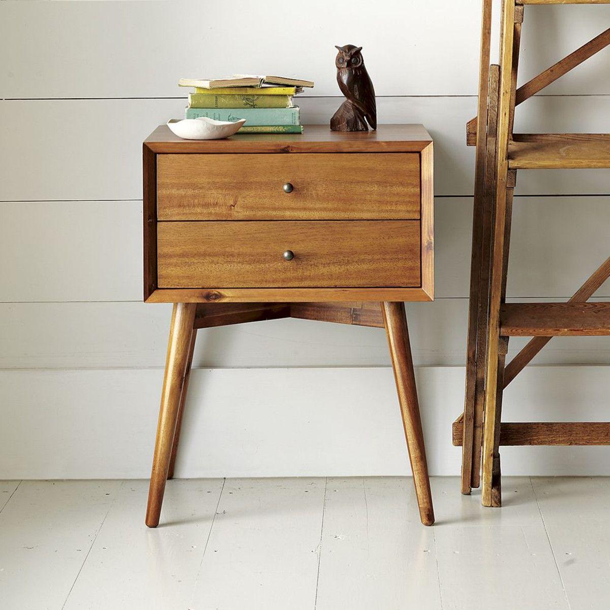 Mid Century Bedside Table Acorn Mid Century Nightstand Wood Modern Nightstand Bedroom Vintage