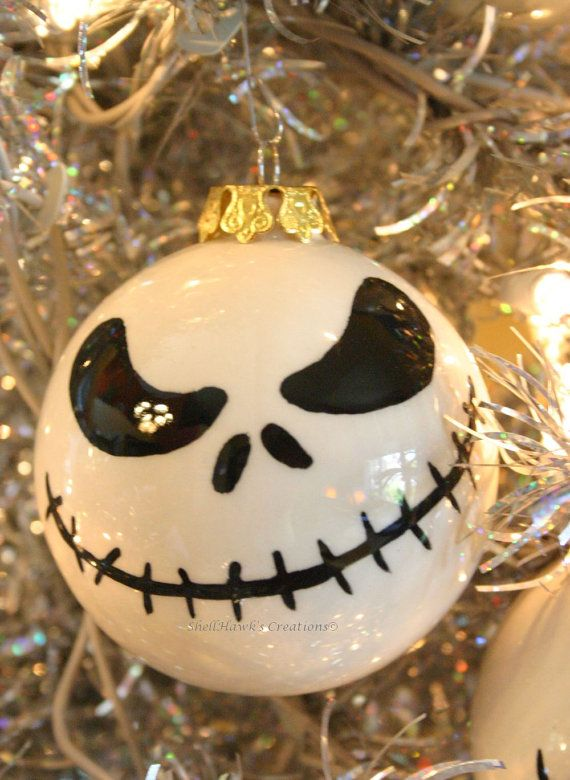 Skeleton Face Halloween Christmas Ornament by ShellHawksCreations