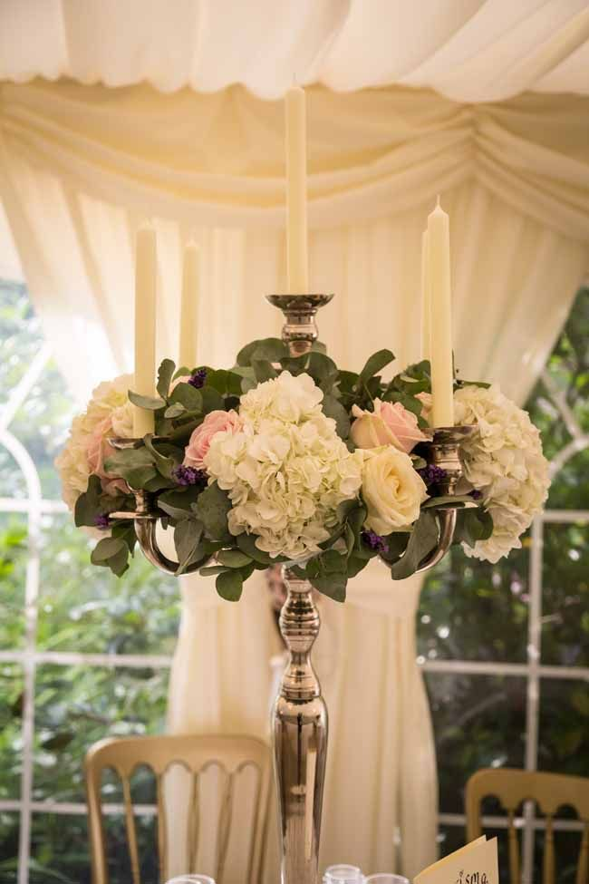 Tall Candelabra Wedding Centrepieces At Birtsmorton Court By Pion For Flowers 1