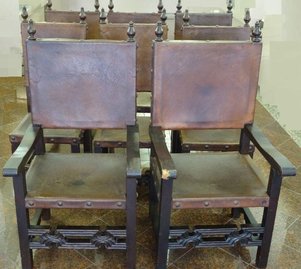 Rare 8 antique artes de mexico int. spanish colonial leather seats ...