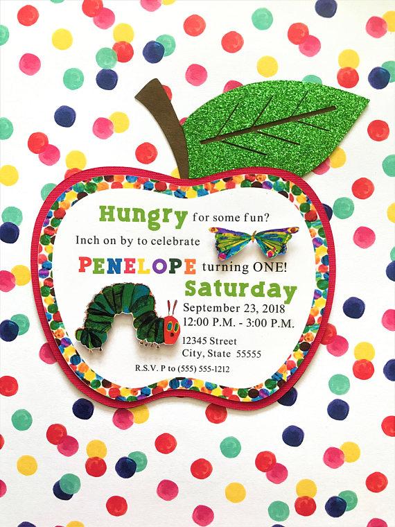 Items similar to Hungry Caterpillar birthday invitation, children's birthday invitations, handmade invitations on Etsy