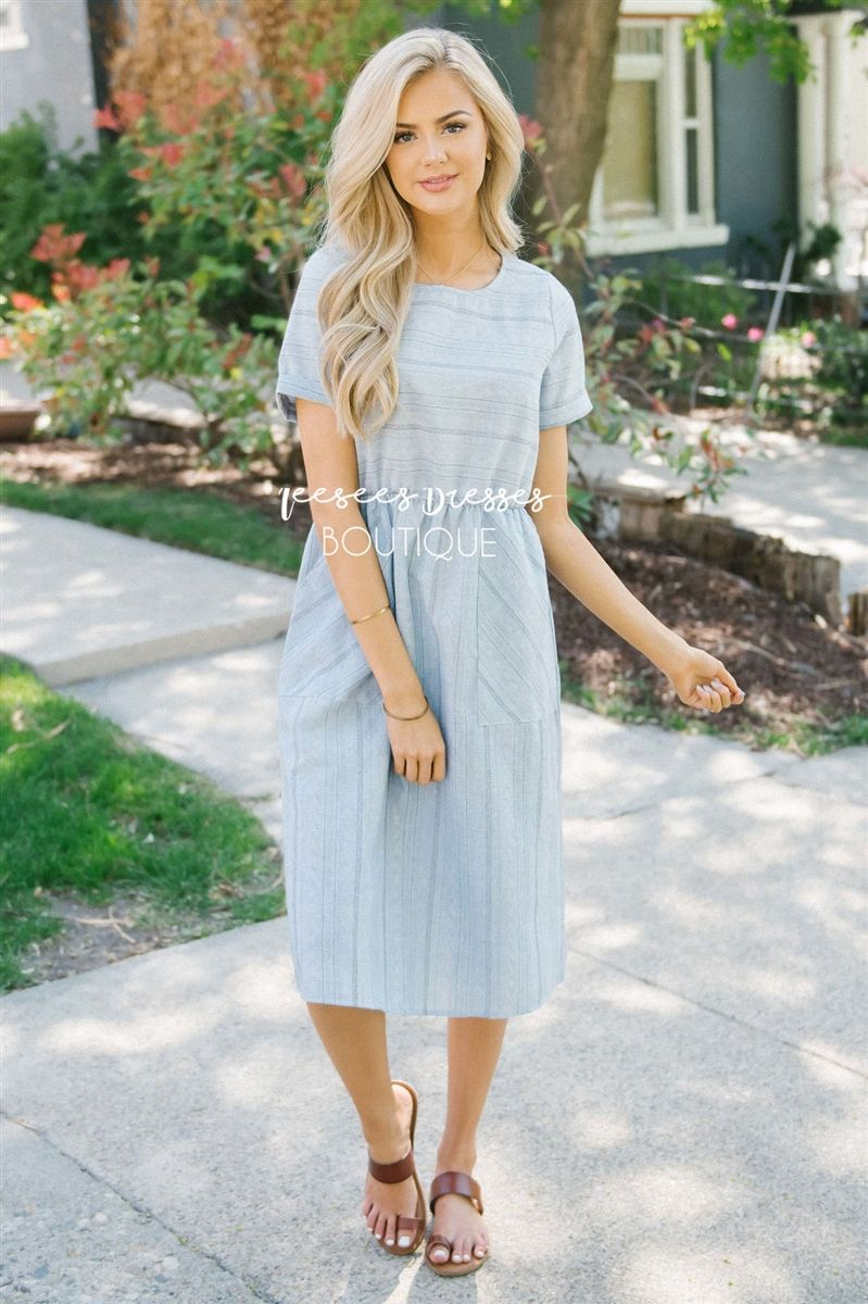 cfea47ccb904f Dusty Blue Striped Front Pocket Sundress | Modest Dress for Summer | Cute Modest  Dresses and Skirts for Church