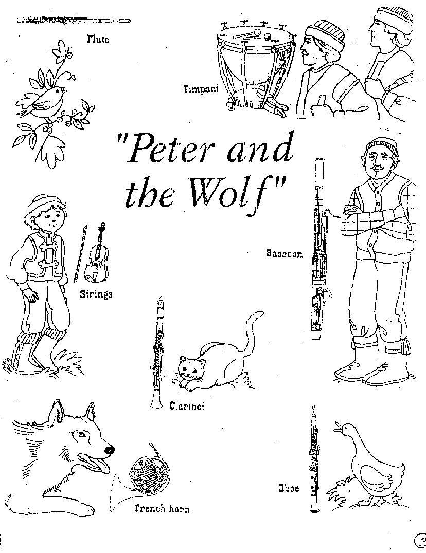 peter and the wolf Colouring Pages | School | Teaching music ...