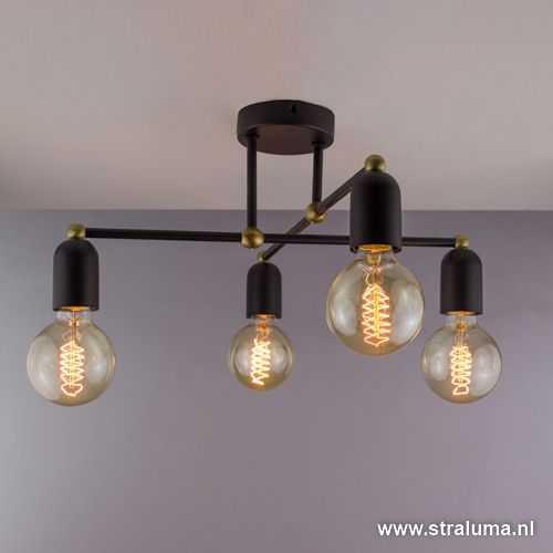 Landelijk klassieke plafondlamp zwart - www.straluma.nl ...