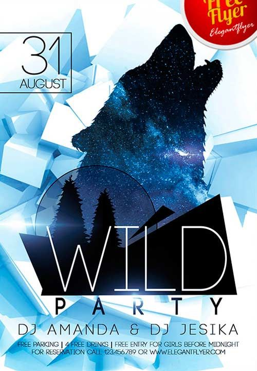 Free Wild Party PSD Flyer Template -    freepsdflyer free - azure flyer template
