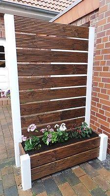 Sichtschutzzaun Blumenkasten Blumenkubel Windschutz Holz Pflanzkubel