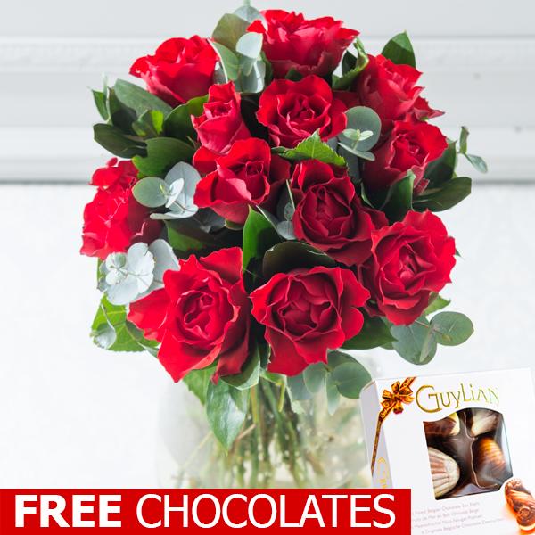 12 Red Roses With Free Chocolates Debenhams