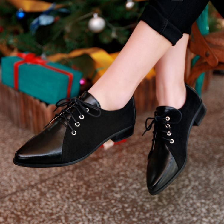 Womens Ladies Chic Lace Up Flat Casual Pointed Toe