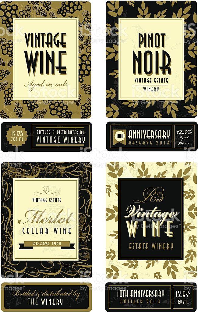 Vector Illustration Of A Set Of Assorted Retro Wine Bottle Labels Vintage Wine Bottle Labels Wine Bottle Labels Vintage Wine Bottle