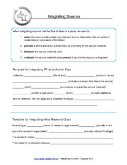 Integrating Sources  Literacy Ta    Writing Skills