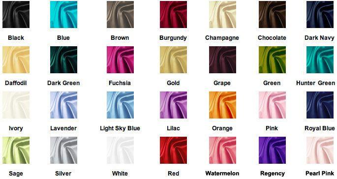 COLOR CHART For Taffeta Fabric. The Blue, Fuchsia, Orange