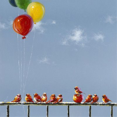 Yosemite Home Decor Revealed Artwork Birds and Balloons Painting on Wrapped Canvas
