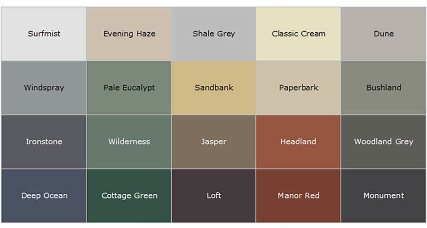 Best Colorbond Roofing Colour Chart Google Search Roof 400 x 300
