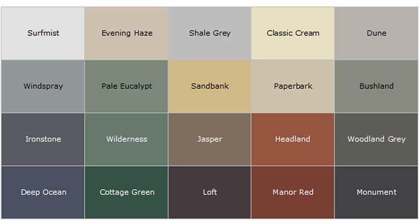 Colorbond roofing colour chart google search kurtzes - Colorbond exterior colour schemes ...