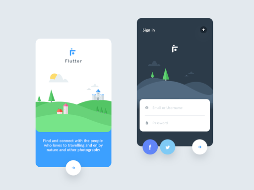 Flutter intro screens (photography app) | UI / UX Design