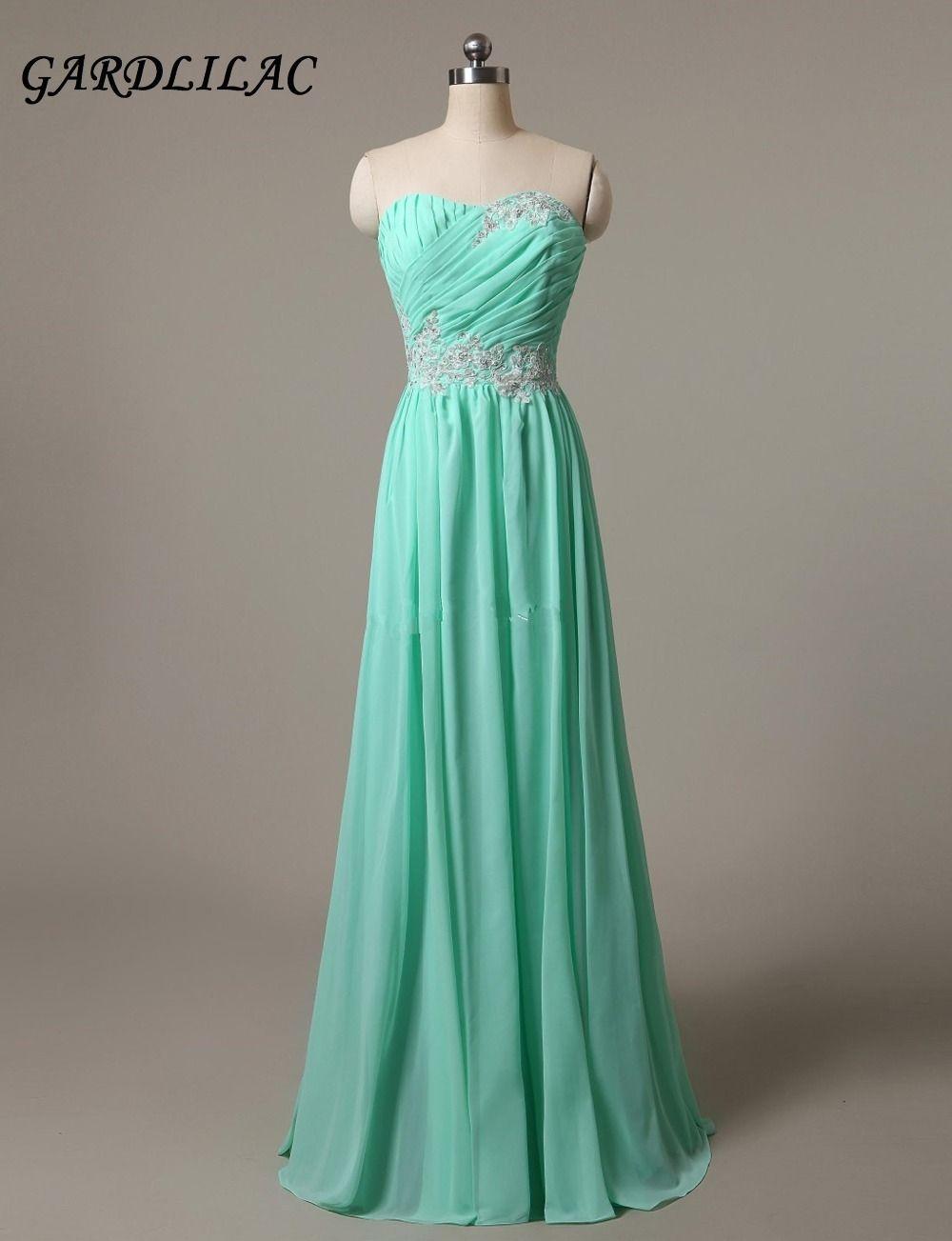 Gardlilac Strapless Mint Long Chiffon Bridesmaid Dresses 2017 Plus ...