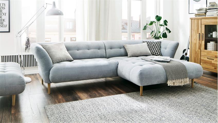 Ecksofa Big Apple Eckgarnitur L Sofa In Stoff Hellgrau Blau