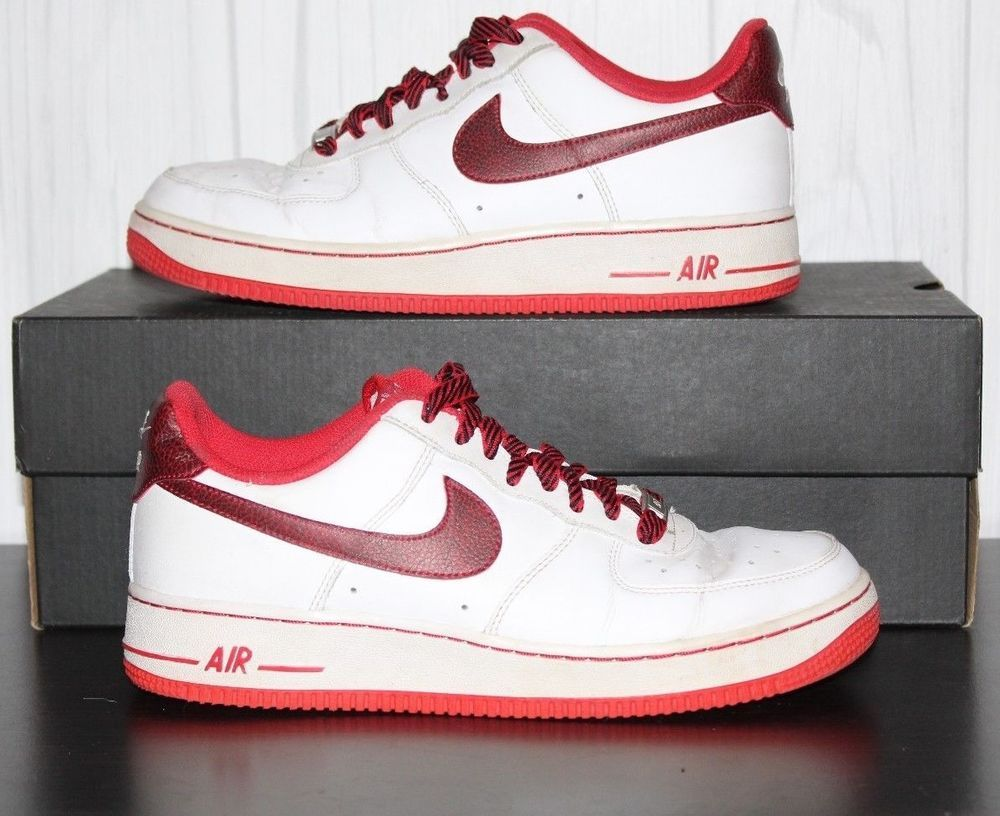 promo code ef51f 09620 Nike Air Force 1 One Low White White University Red 488298-139 Mens Size  7.5  Nike  AthleticSneakers