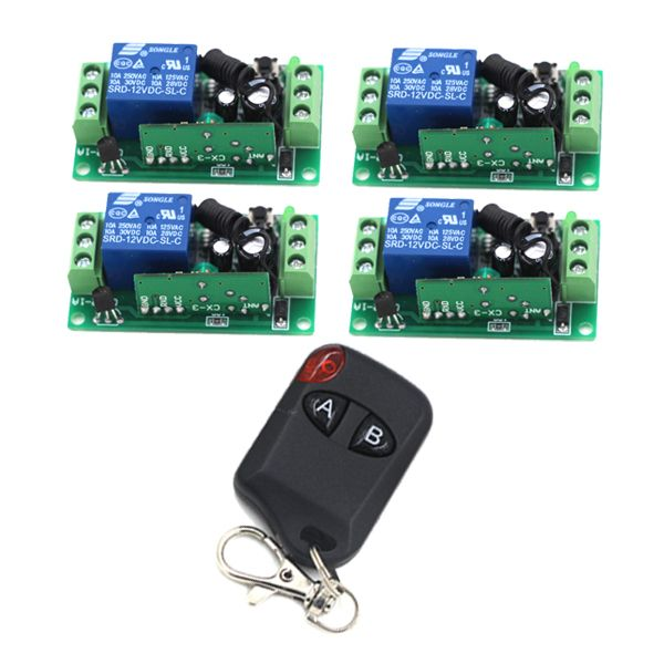 1ch Wireless Remote Control Switch System Z Wave 12v 4pcs Receiver 1pc 2 Button Transmitters For Gate Garage Door Sku 53 Remote Control Transmitter Wireless