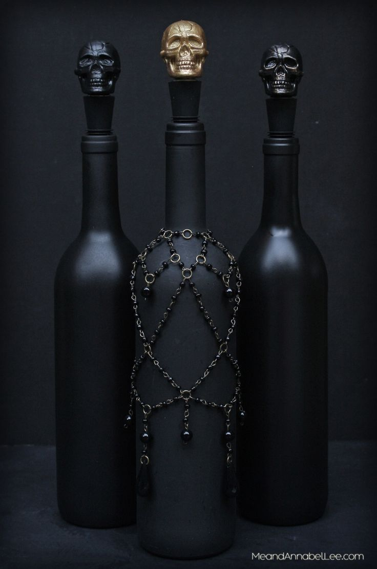 DIY Black Skull Wine Bottle Stopper Halloween Party Decor is part of Skull wine, Wine bottle diy crafts, Diy skulls, Halloween party decor diy, Wine bottle crafts, Halloween party decor - In just a few simple steps, create a DIY Skull Wine Bottle Stopper  If you're a fan of skulls or perhaps planning for a Halloween dinner party, this tutorial is for you