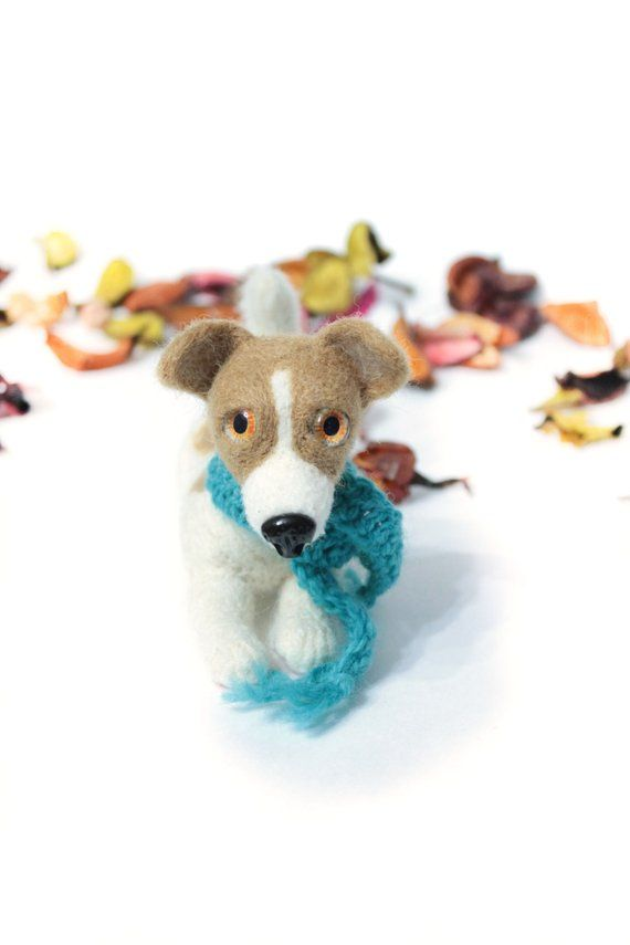 White Dog Cute Toy Spotted Dog Felted Needle Natural Wool