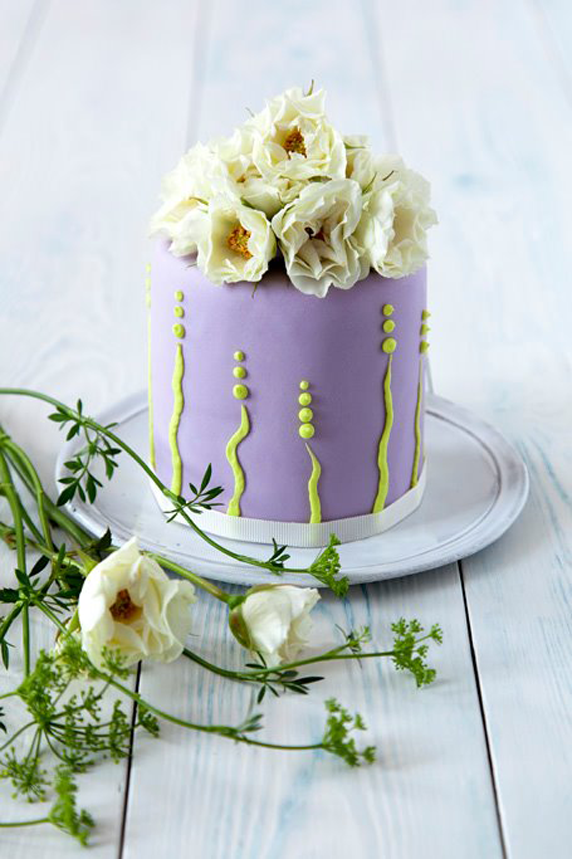 Little Purple Cake with Lime Green Motif