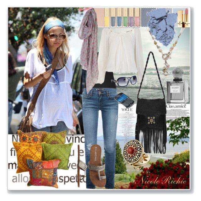 """Nicole Richie"" by elena-starling ❤ liked on Polyvore featuring Vince, J Brand, Miss Selfridge, Billabong, J.J. Winters, Gucci, Revlon, Dolce&Gabbana, Yves Saint Laurent and Balmain"