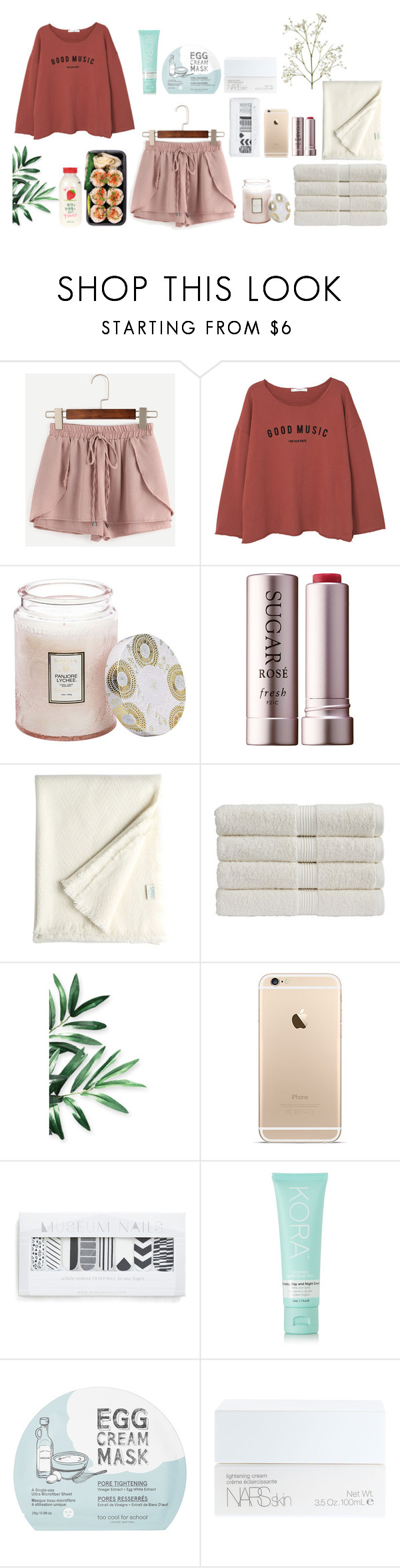 """Night routine"" by soojinchoi ❤ liked on Polyvore featuring WithChic, MANGO, Voluspa, Fresh, Shuj, Christy, KORA Organics by Miranda Kerr, too cool for school, NARS Cosmetics and CO"