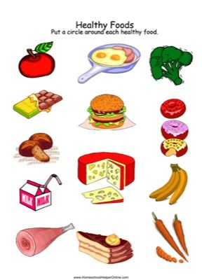 Use this healthy foods worksheet to help your student learn about good food choices they can circle the that are also vs junk chart stickers or magazine pictures rh pinterest