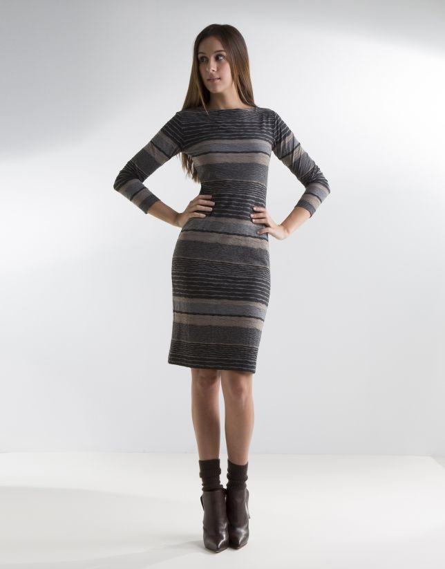 b437bc6cf Vestido punto de mujer a rayas gris