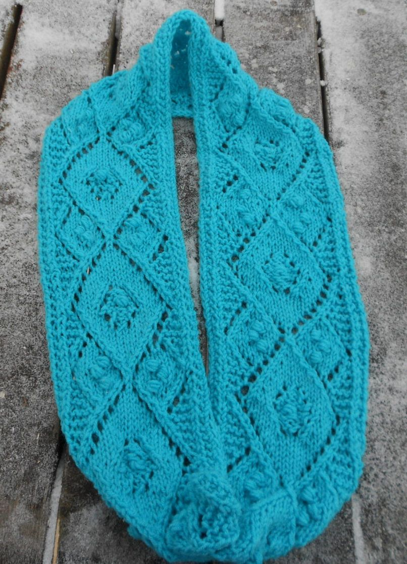 Knitting Pattern for Lacy Argyle Infinity Scarf - This cowl features ...