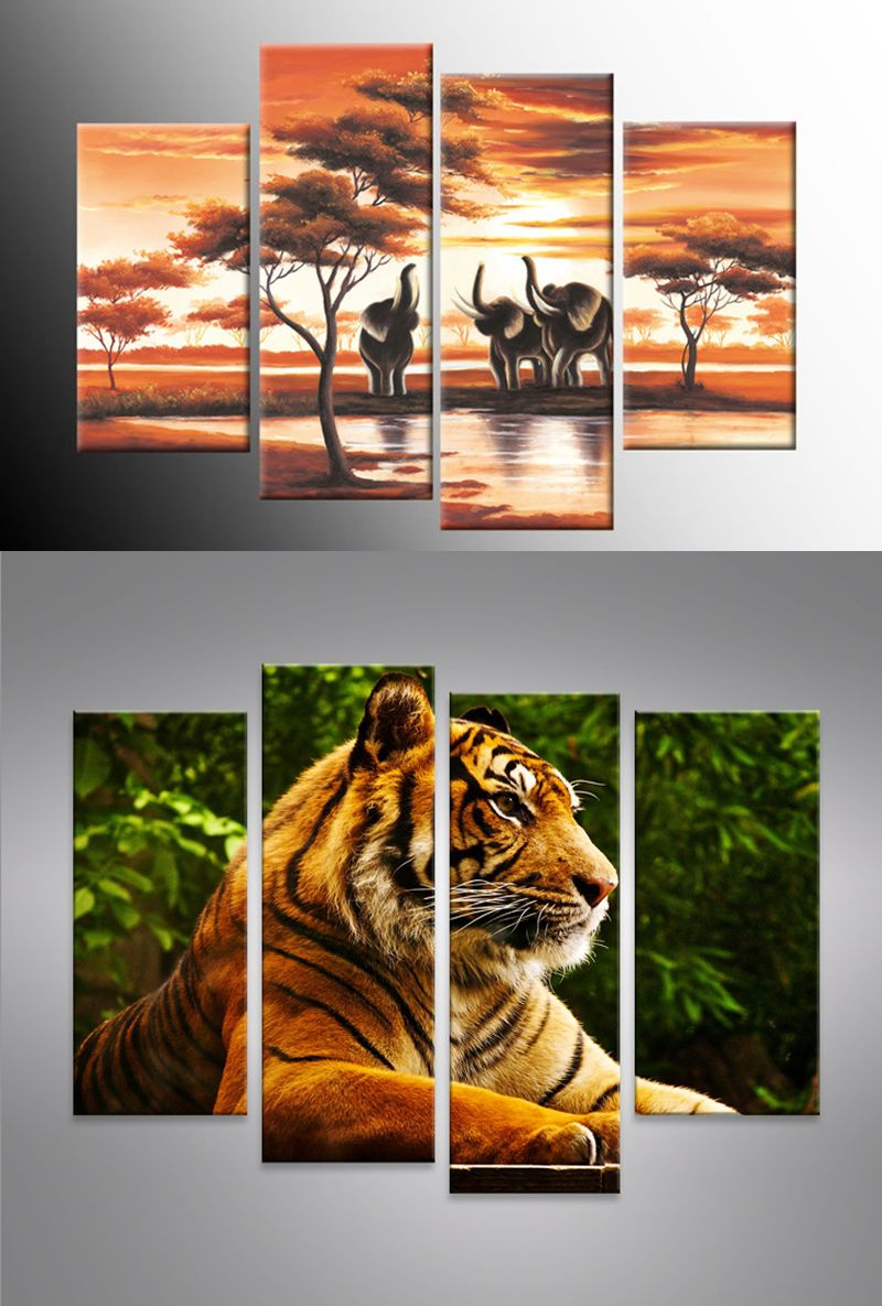 Four Panel Wall Art Oil Painting On Canvas Prints Of Animals Can Be A  Beautiful Improvement