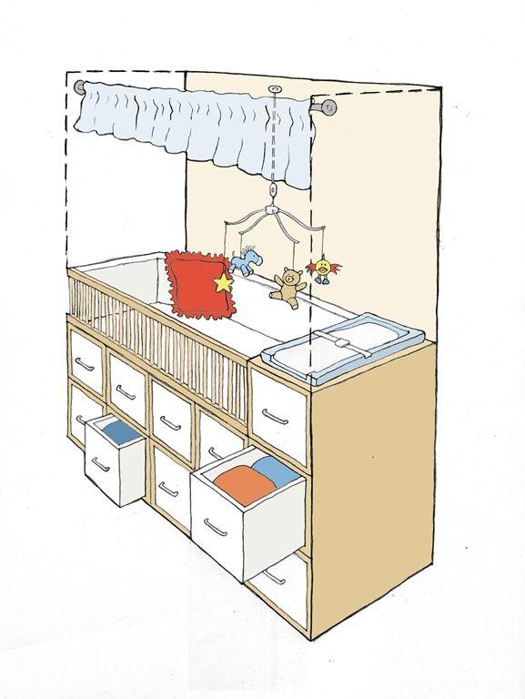 convert closet into mini nursery in small place ...Genius idea for ...