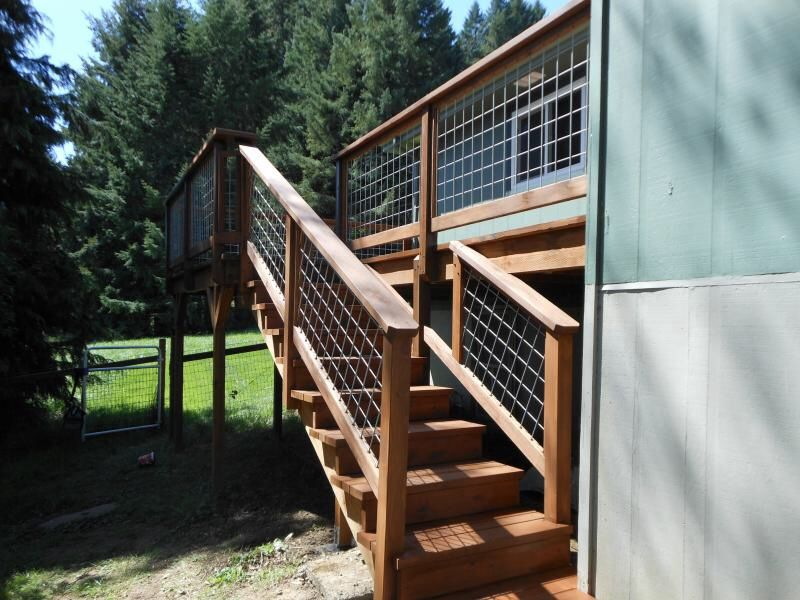 Wide Stairs Hog Wire Fencing Modern Fence Rustic Fence