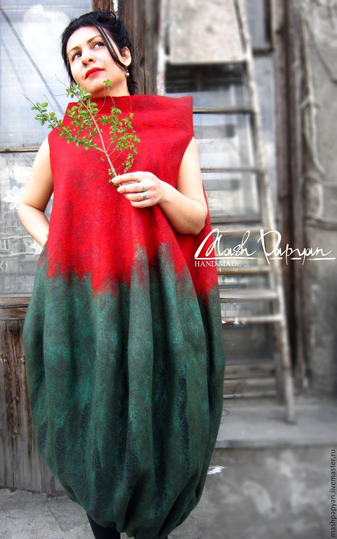 """Купить Валяное Платье - баллон """"Арвен"""" - однотонный, комбинированный, платье валяное, валяное платье"""