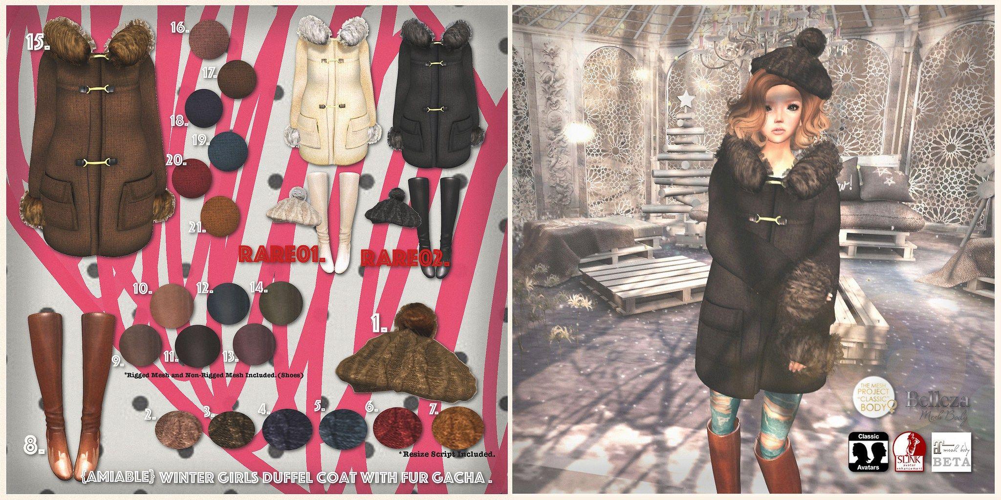 Amiable Winter Girls Duffel Coat with Fur Gacha   SL   Coat