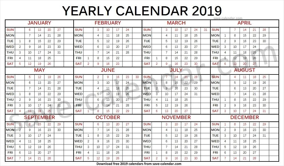Calendar 2019 Monthly Template Yearly Calendar 2019 in 2018